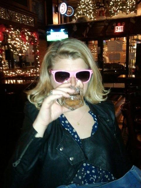 karaoke pink glasses